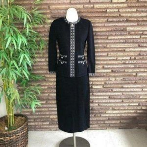 St. John Evening Black Embellished Dress Suit